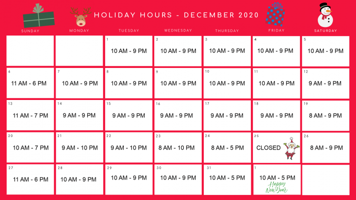 December Holiday Hours 1