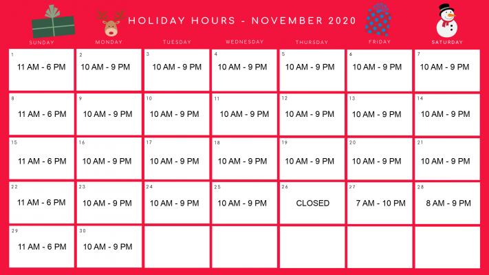 November Holiday Hours